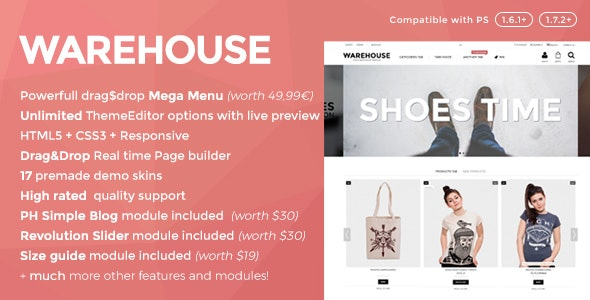Plantilla de PrestaShop: Warehouse